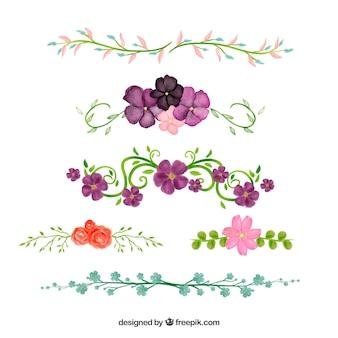 Collezione di divisori con elementi floreali