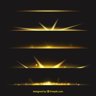 Dividers collection with gold light effect