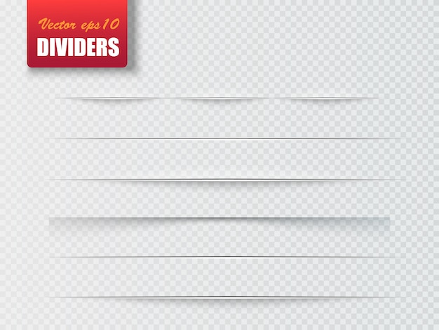 Dividers isolated. shadow dividers. vector illustration