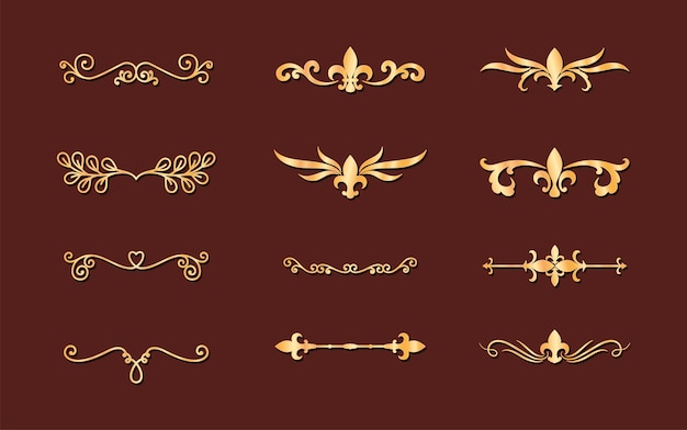 Dividers ornaments gold style set icons design of decorative element theme