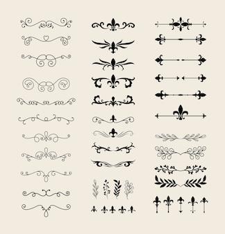 装飾要素のテーマの仕切り飾りラインスタイルシンボルセットデザイン