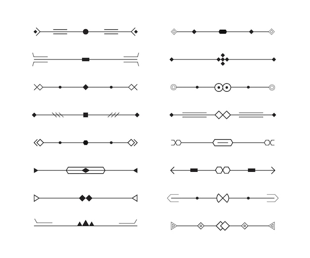 幾何学的なラインコレクションのディバイダーセット、最小限のスタイル。