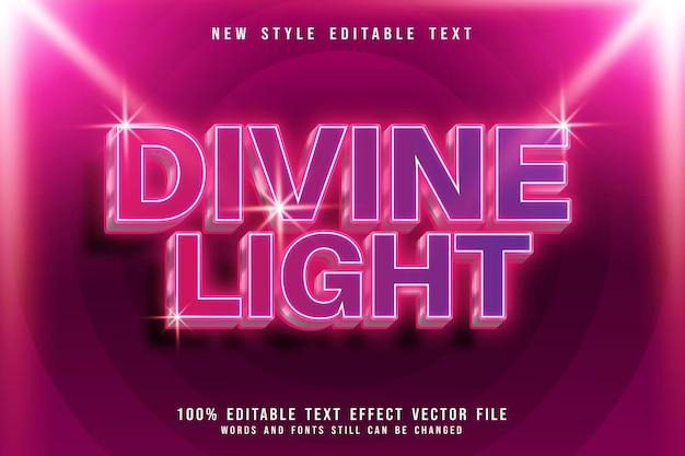 Divine light editable text effect 3 dimension emboss modern neon style