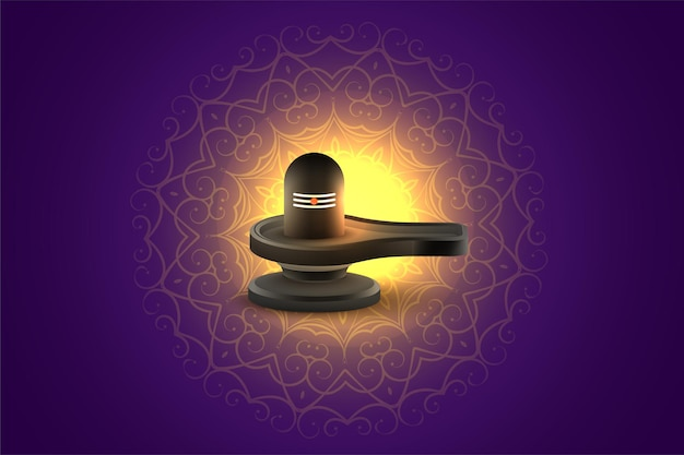 Divine maha shivratri festival greeting with shivling