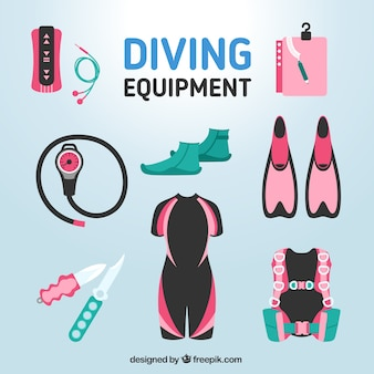 Diving accessories in colors set