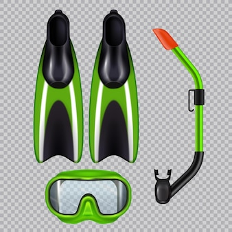 Diving accessories realistic set with snorkel breathing tube mask and flippers  green on transparent