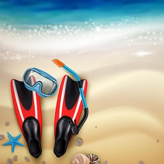 Diving accessories on tropical beach sand realistic top view with flippers snorkel mask marine creatures