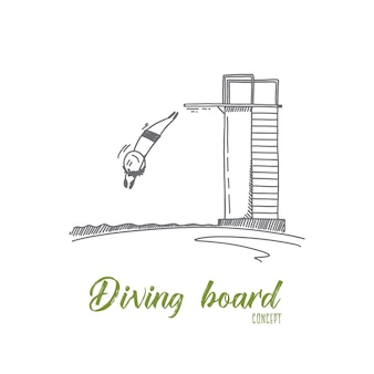 Diving board concept illustration