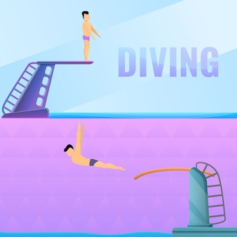 Diving board illustration set on cartoon style