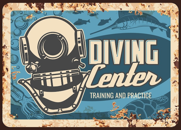 Diving center metal plate rusty, scuba dive sport retro poster. sea or ocean snorkeling divers club, underwater school and nautical adventure training, practice, aqualung metal plate with rust