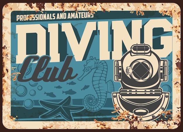 Diving club metal rusty plate, scuba sport