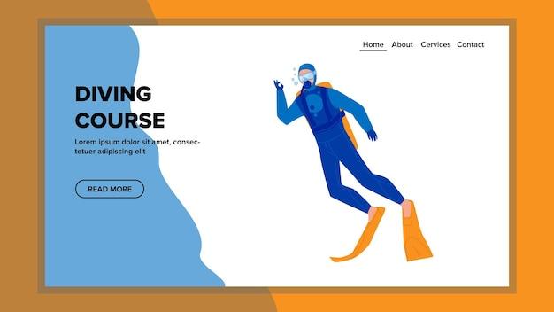 다이빙 코스 학교는 젊은 다이버 벡터를 교육합니다. 다이빙 코스에서 수중 운동을 하는 전문 의상과 액세서리를 입은 남자. 캐릭터 교육 웹 플랫 만화 일러스트 레이션