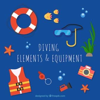 Elementi di immersione e le attrezzature in design piatto