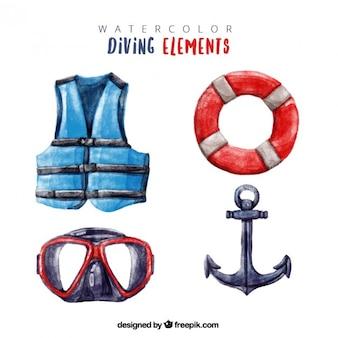 水彩画の効果でダイビングの要素