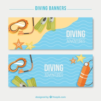 Diving elements on the seashore banners