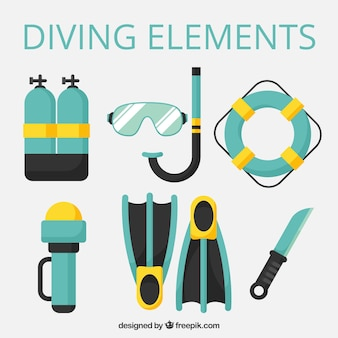 Diving equipment in flat design