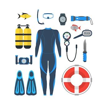 ダイビング器材セット。マスクとシュノーケルまたはスキューバ、足ひれと水泳用スーツ。スタイル。