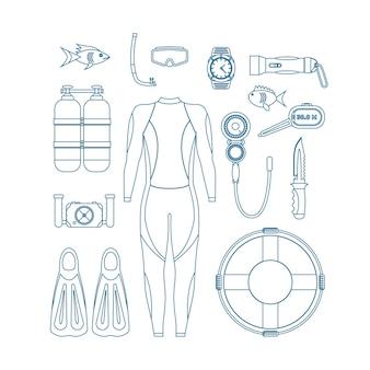 다이빙 장비 얇은 라인 세트. 수영 디자인 스타일을 위한 마스크와 스노클링 또는 스쿠버, 오리발 및 정장. 벡터 일러스트 레이 션