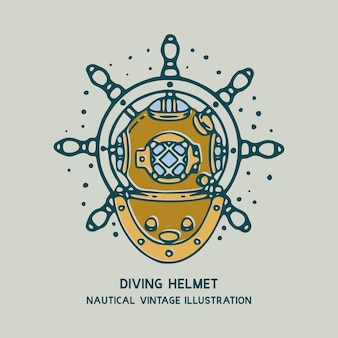 Diving helmet crab with ship's wheel nautical vintage illustration