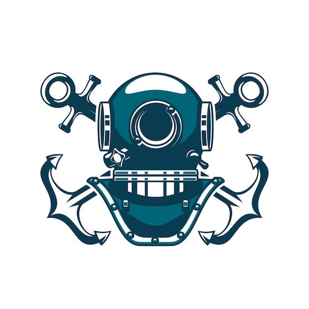 Diving helmet, marine nautical heraldic aqualung