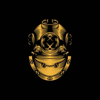 Diving helmet mascot illustration