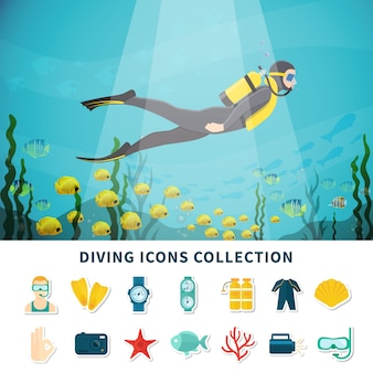 Diving icons collection