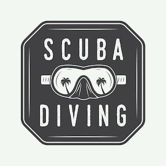Diving logo label in vintage style