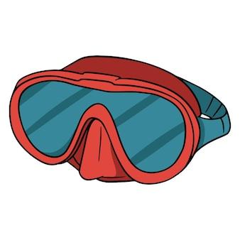 다이빙 마스크. 수중에서 볼 수 있는 마스크. 다이빙 장비. 해변에서 필요한 것들. 만화 스타일입니다. 디자인 및 장식용 삽화.