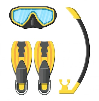 Diving mask, flippers and snorkel.