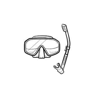 스노클링 손으로 그린 개요 낙서 아이콘이 있는 다이빙 마스크. 다이빙 장비, 레저, 스노클링 개념
