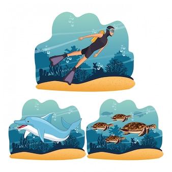 바다에서 다이빙 사람들