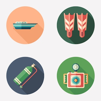 Diving and recreation flat round icon set.