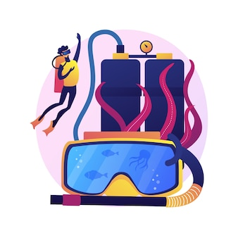ダイビングスクールインストラクター。スキューバダイビング、水中レクリエーション、シュノーケリングレッスン。ウェットスーツとマスクで水泳をしている男性ダイバー。