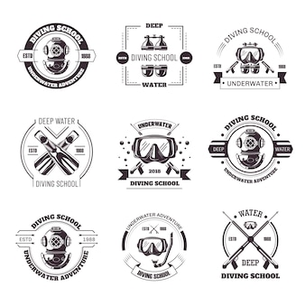 Diving school promo monochrome emblems with equipment set