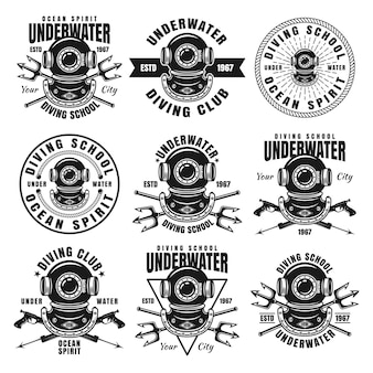 Diving school vector black emblems, badges, labels isolated on white