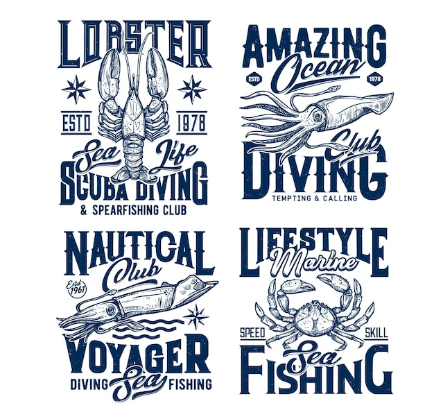 Diving and sea fishing club t-shirt prints. lobster, squid or cuttlefish, crab engraved.