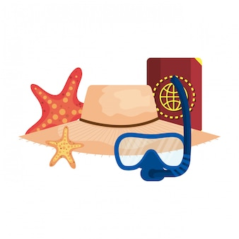 Diving snorkel mask and passport with straw hat
