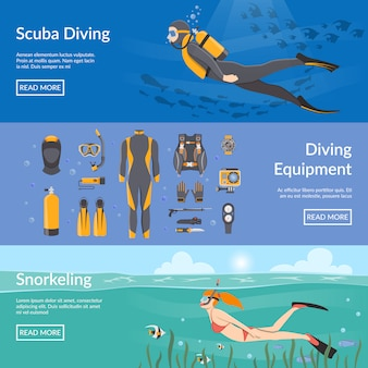 Diving and snorkeling banners