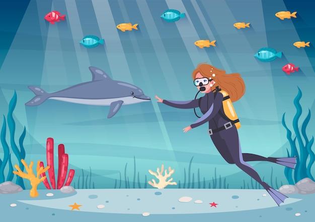 Дайвинг, снорклинг, мультяшная композиция с подводным пейзажем океана и морскими растениями с рыбами и дайвером