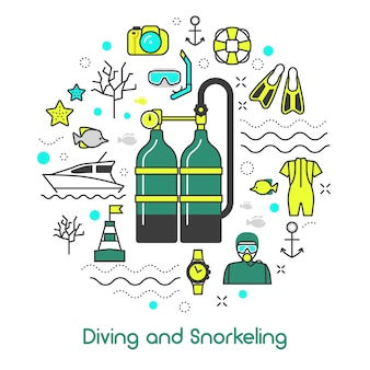 Diving snorkeling scuba equipment icons set