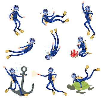 Diving and snorkeling set, diver in underwater swimming in mask snorkel and fins  illustrations