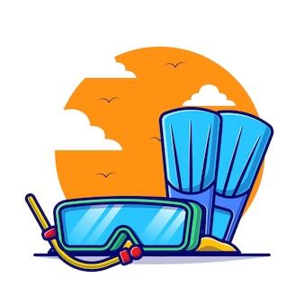 여름 만화 평면 일러스트와 함께 다이빙 도구입니다.
