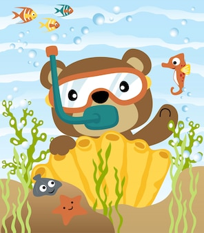 Diving with funny bear cartoon