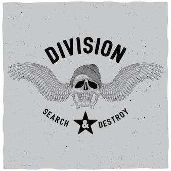Division search and destroy poster with skull in hat and wings illustration
