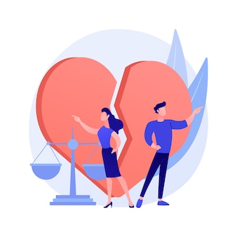 離婚の抽象的な概念のベクトル図です。結婚の解消、離婚、離婚判決、夫と妻の対立、健康的な分裂、両親の戦い、抽象的な比喩の崩壊。