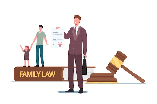 Divorce, child custody or alimony concept. tiny father character with little daughter and attorney at huge gavel, family law, judge courthouse during court hearing. cartoon people vector illustration