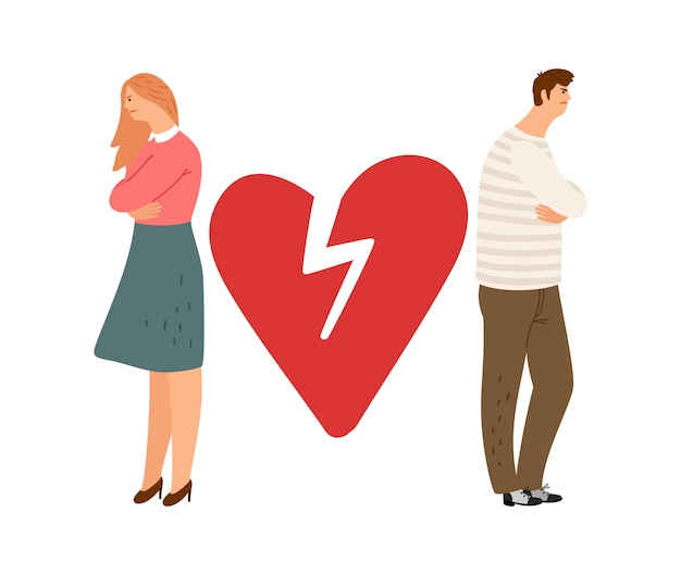 Концепция развода. бывшая пара персонажей. сердитая девушка мальчика