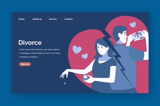 Divorce concept landing page design