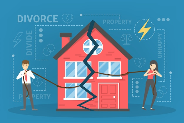 離婚のコンセプトです。人々は解散し、財産分割を行う
