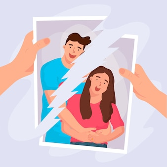 Divorce concept with broken photo